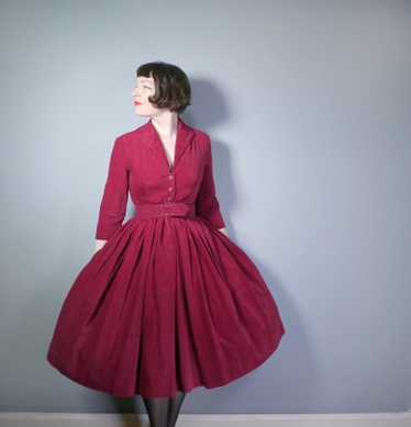 WINE RED 50s HORROCKSES FASHIONS CORDUROY AUTUMN /