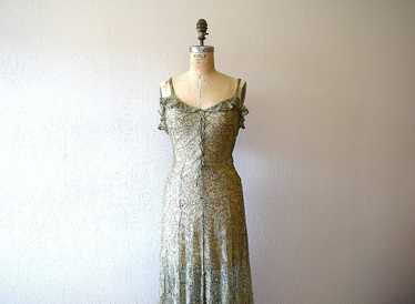 1930s green lace and gold lame gown . vintage 30s