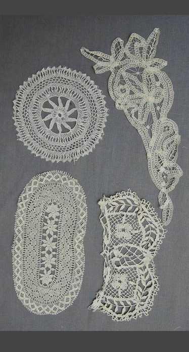 4 Handmade Lace Antique Lace Pieces, Edwardian 190