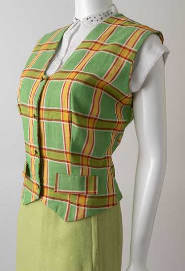 1930s Kitty Fisher Plaid Denim Vest