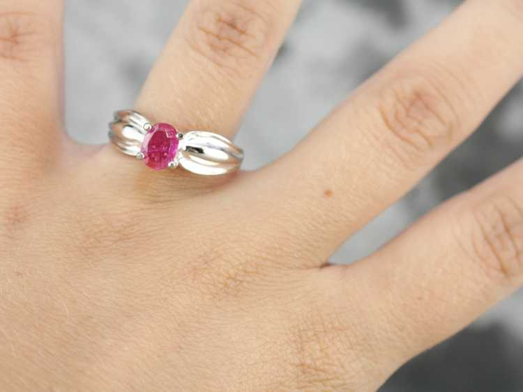 Ruby Solitaire Ring in Sterling Silver - image 4