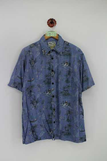 Hawaiian Travel Size Women Large Stamps 90s 1990s Short Sleeve Button Up Shirt Black