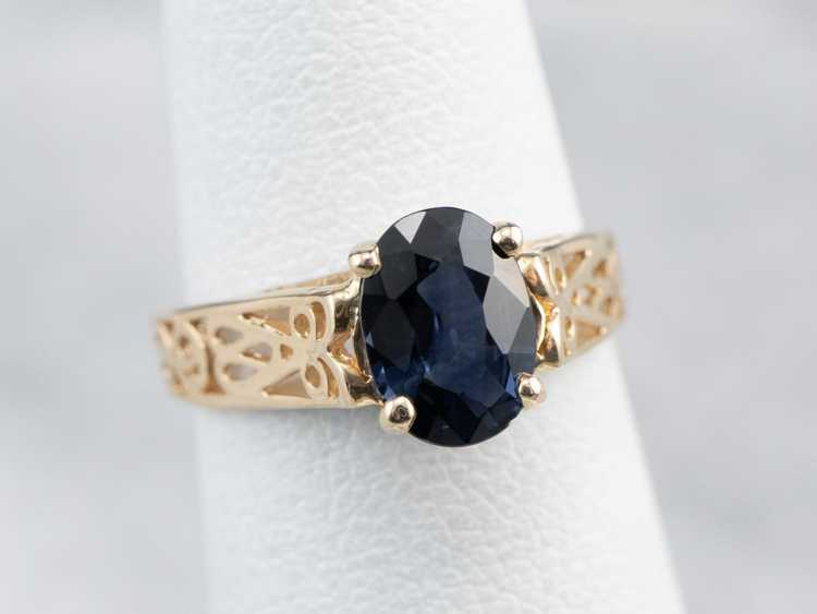 Sapphire Gold Filigree Solitaire Ring - image 7