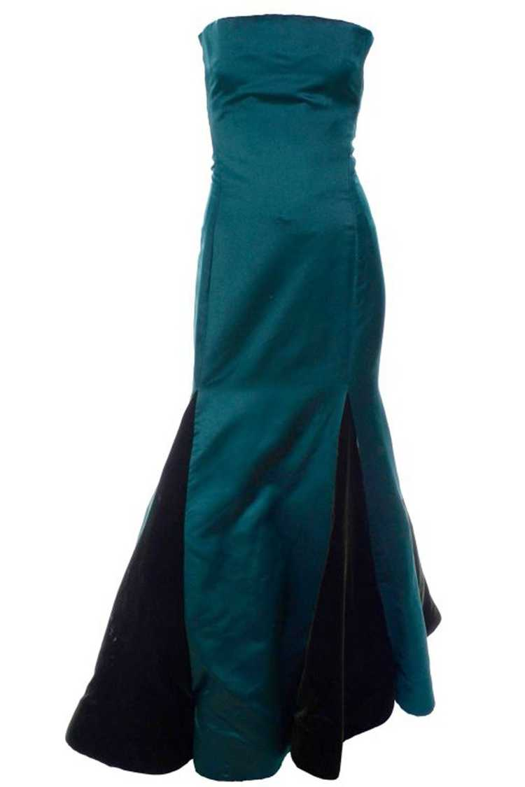 Arnold Scaasi Strapless Green Evening Gown W/ Vel… - image 2