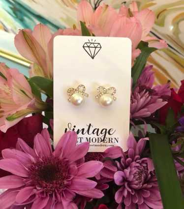 Audrey Pearl and Crystal Rhinestone Bow Earrings
