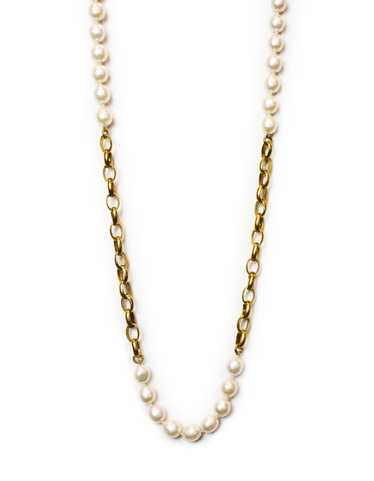 Chanel Vintage Goldtone Chain Link & Pearl Necklac