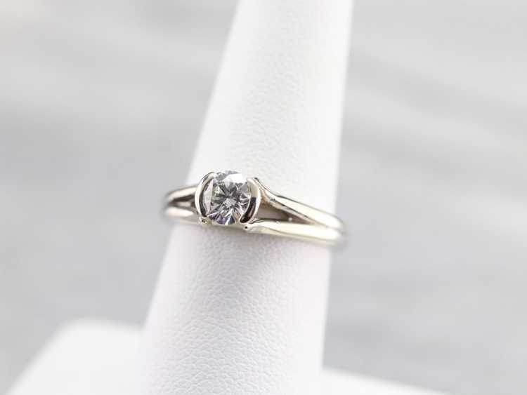 White Gold Diamond Solitaire Ring - image 6