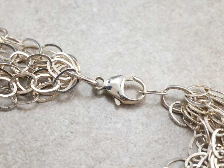 Multi Strand Sterling Silver Chain Necklace - image 4