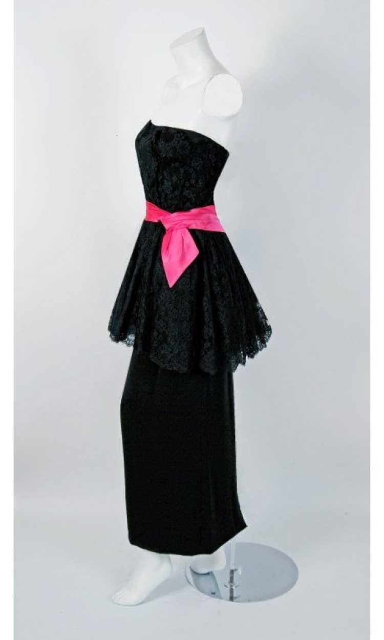 1950's Ceil Chapman Black & Pink Chantilly Lace S… - image 2