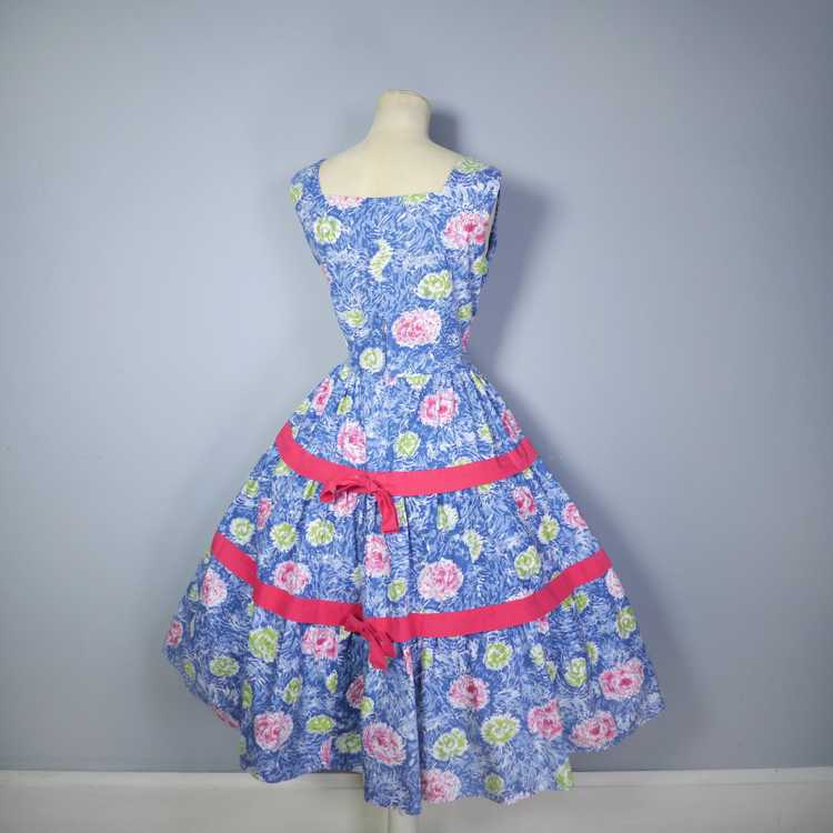 50s FEATHERY FLORAL BLUE COTTON DRESS WITH TIERED… - image 10