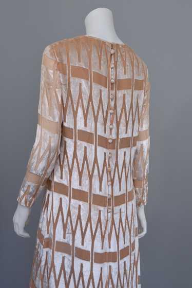 1960's 70's Mod Dress Geometric Burnout Velvet Mod