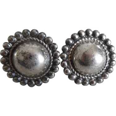 Vintage Navajo Silver Concho Four Directions Earrings c1960s screw back