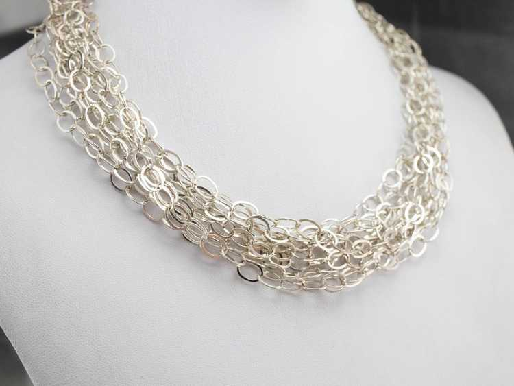 Multi Strand Sterling Silver Chain Necklace - image 6