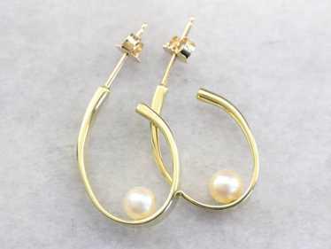 Modernist Pearl Hoop Earrings