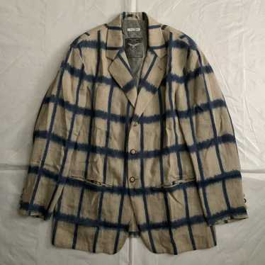 1990s Armani Checkered Dyed Beige Linen Blazer - X