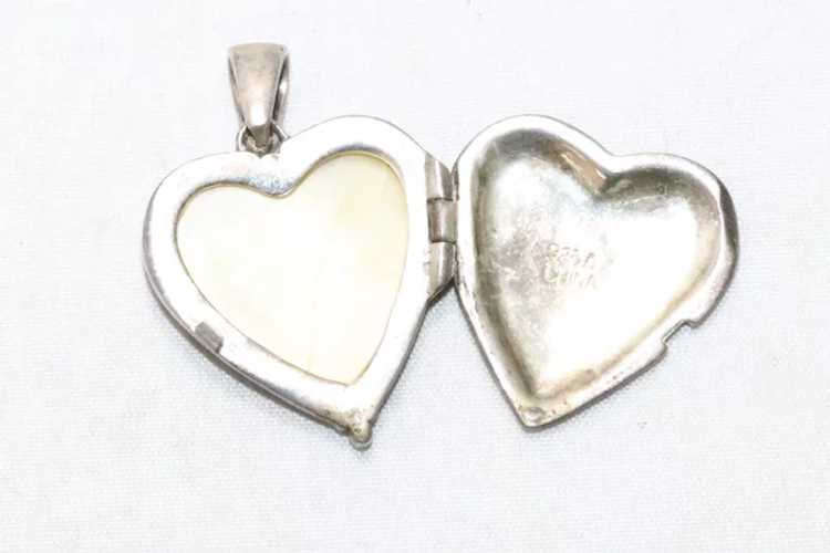 Vintage Sterling Silver Mother of Pearl Heart Loc… - image 3