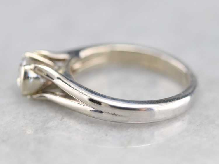 White Gold Diamond Solitaire Ring - image 4