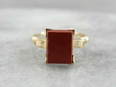 Brick Red Jasper Ring in Retro Era Mounting