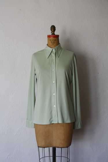 1970s Mint Green Long Sleeve Button Up Blouse