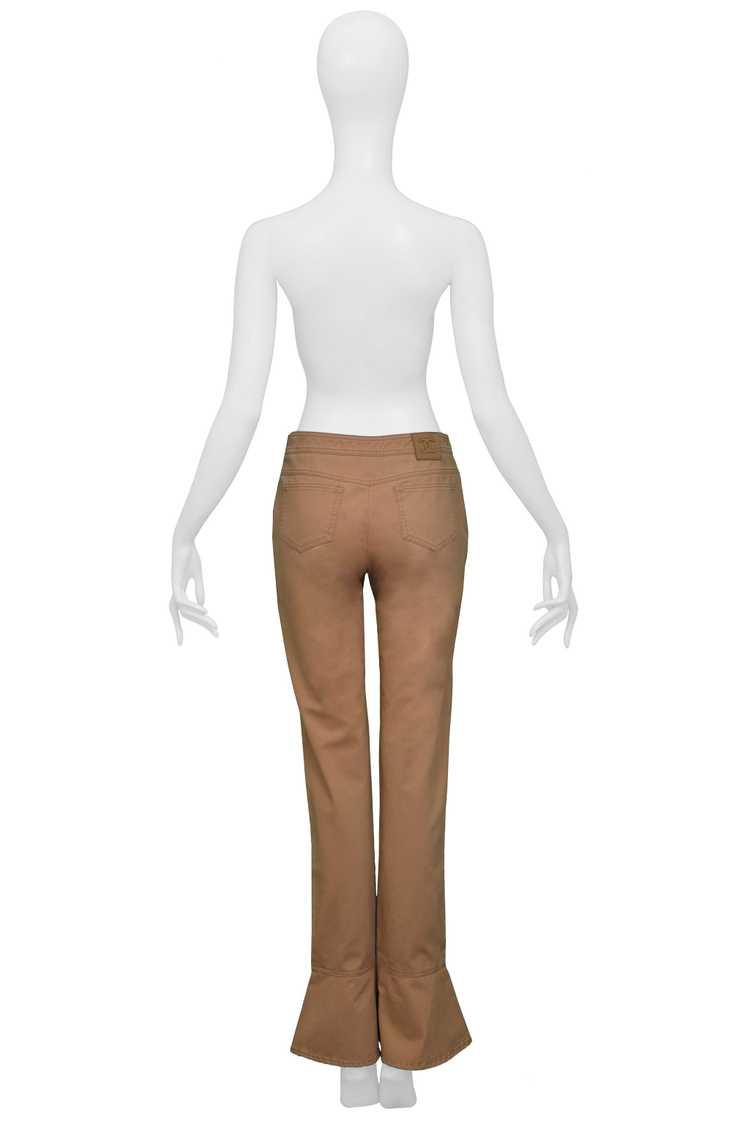 CHANEL KHAKI FLARED COTTON PANTS - image 3