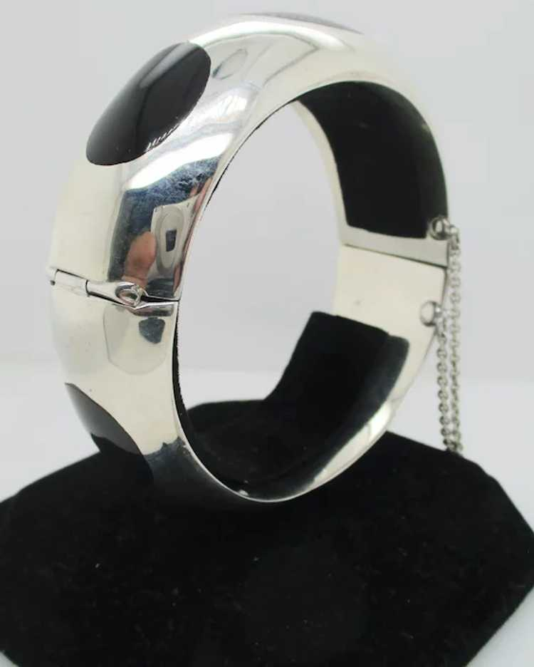 Sterling Silver and Onyx Mid-Century Modern Brace… - image 5