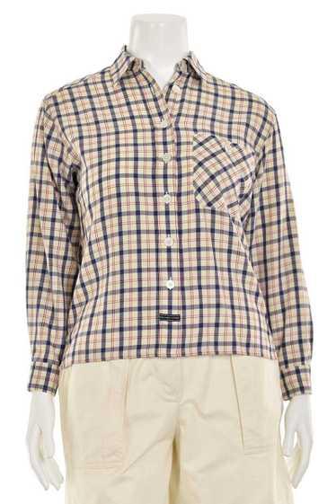 Escada Sport Red Navy Plaid Flannel Shirt