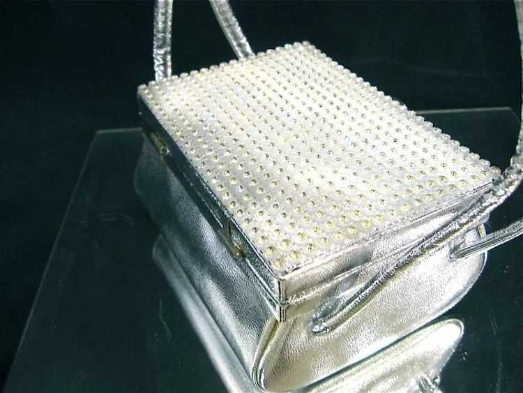 Arnold Scaasi Silver Studded Evening Bag - image 4