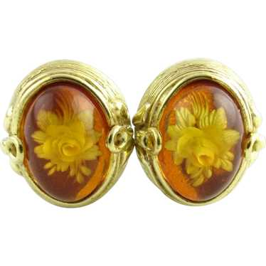 Vintage 18 Karat Yellow Gold and Amber Floral Earr