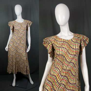1930s Frill Sleeve Orange, Yellow and Green Feed S