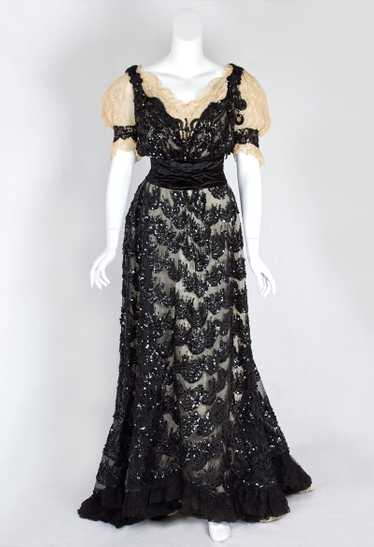 Sequined tulle evening gown, c.1900