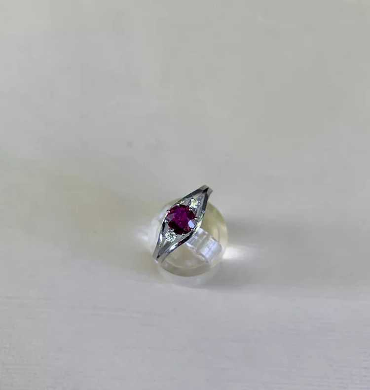 18k Gold Ruby Diamond Solitaire Ring - image 11