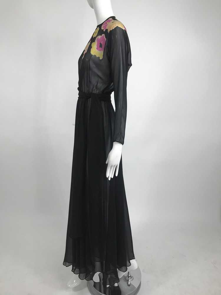 Vintage 1930s Floral Print Bias Cut Black Silk Ch… - image 3