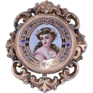 Victorian Hand Painted Brooch