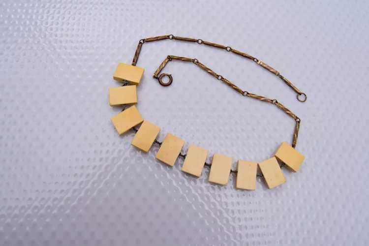10 Celluloid Cameo Panels Necklace - image 3
