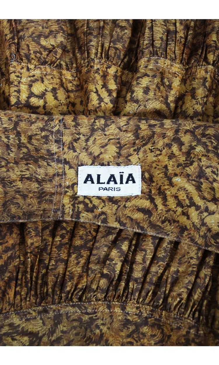 1987 Azzedine Alaia Documented Golden Print Silk … - image 12
