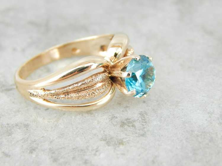 Blue Zircon Gold Solitaire Ring - image 3