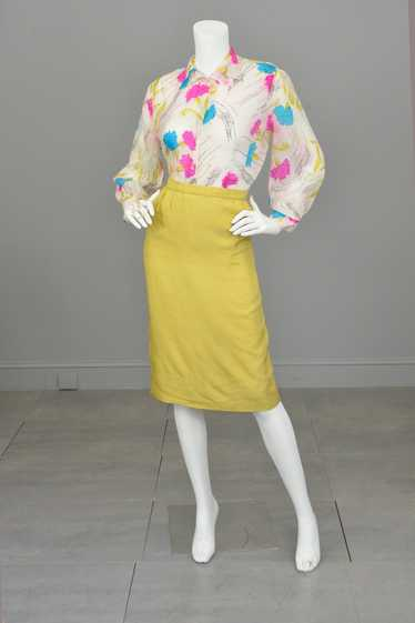 1940s Hand Dyed Tissue Silk Blouse with Balloon Sl