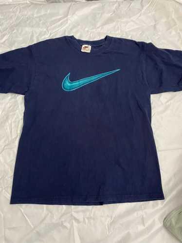 Nike × Vintage 90's Nike Aqua Swoosh Tee