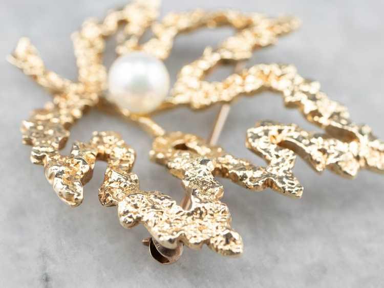 Vintage Gold and Pearl Maple Leaf Brooch - image 7
