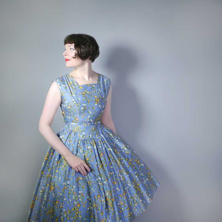 50s BLUE FULL SKIRTED DRESS BY RODNEY IN RED AND … - image 4