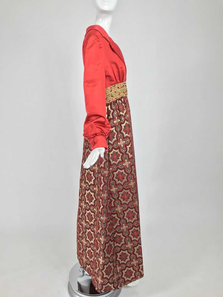 Vintage Ceil Chapman Red Satin and Metallic Broca… - image 3