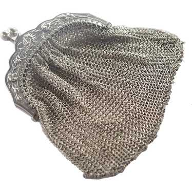 French Art Nouveau Silver Mesh Chrysanthemum Purse