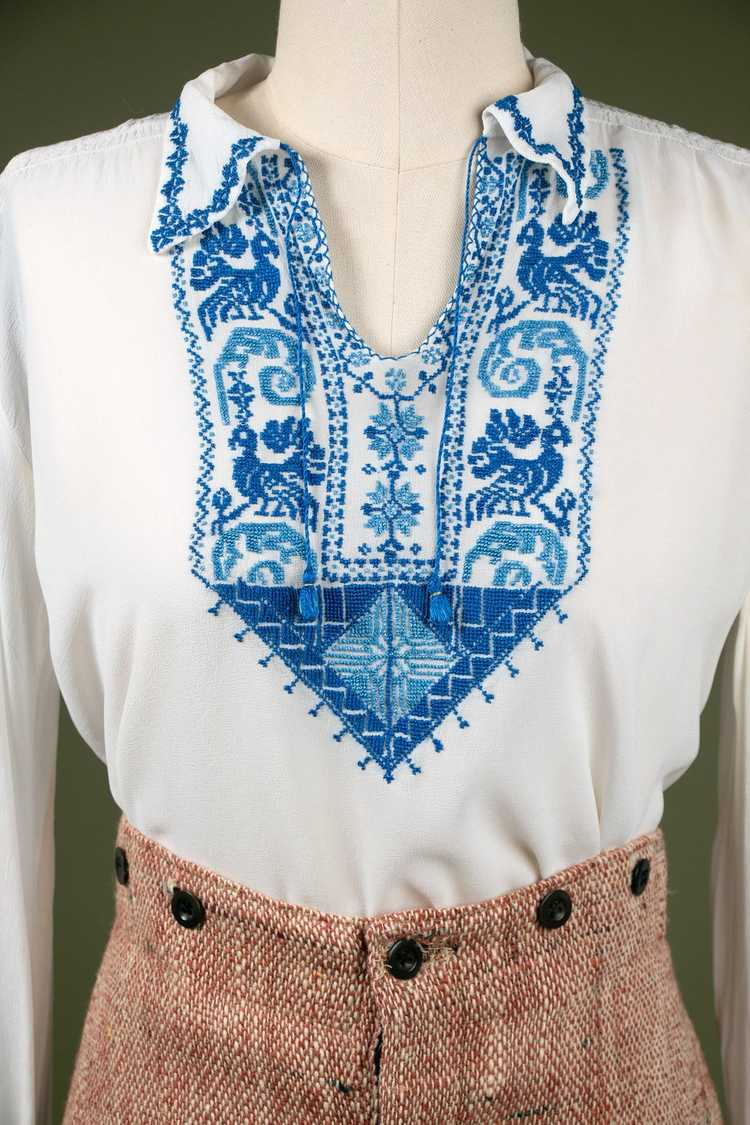 Vintage 1930's Embroidered Peasant Blouse - image 3