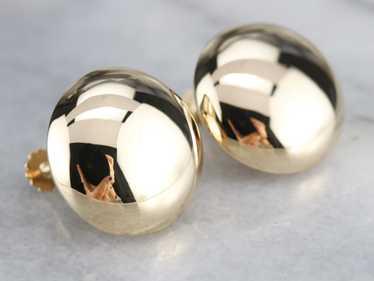 Vintage Gold Button Screw Back Earrings