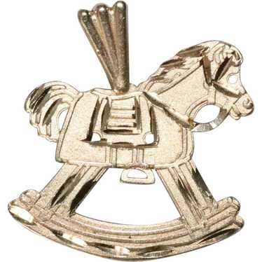 14 K Yellow Gold Horse Rocking Chair Pendent