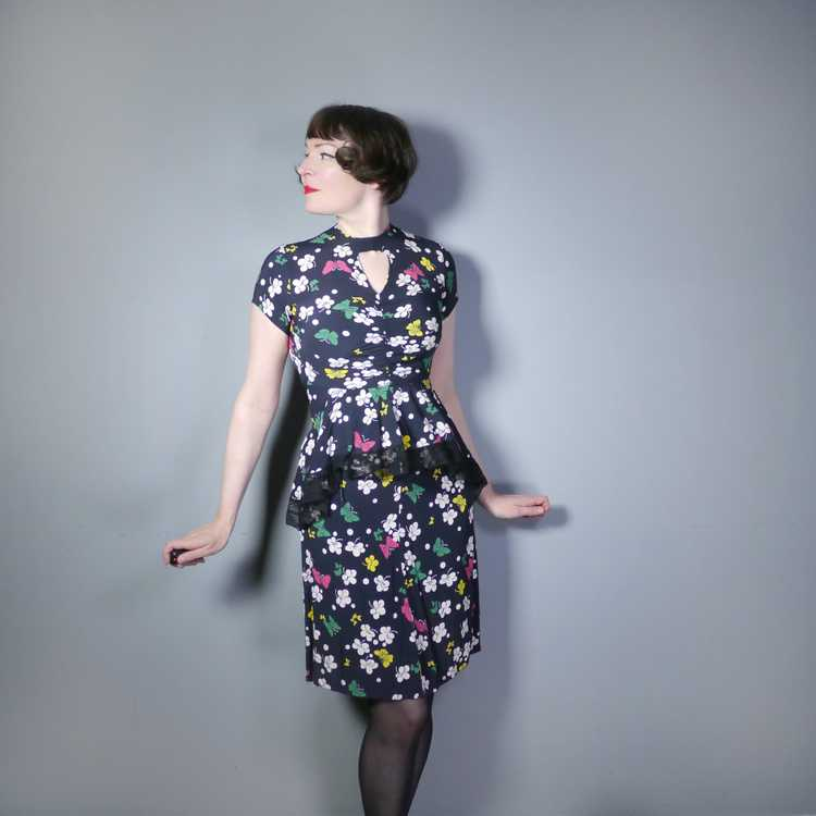 40s BUTTERFLY PRINT RAYON DRESS WITH PEPLUM AND K… - image 2