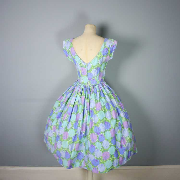 50s FLORAL ROSE DRESS IN BLUE, GREEN AND LILAC CO… - image 9