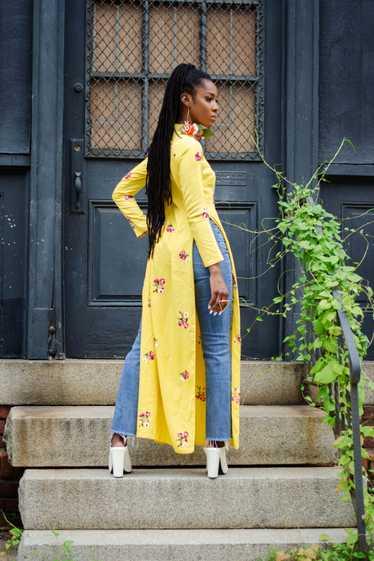 Vintage Banana Yellow Floral Embroidered Qipao - image 1