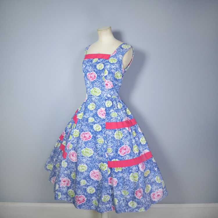 50s FEATHERY FLORAL BLUE COTTON DRESS WITH TIERED… - image 9