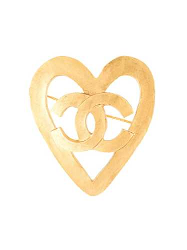 Chanel Pre-Owned 1995 CC heart motif brooch - GOLD